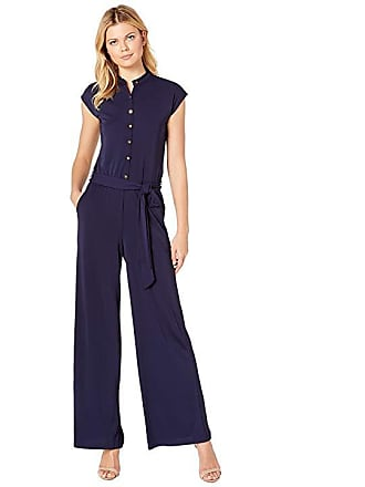 c75607def688 Ralph Lauren Buttoned Jersey Jumpsuit (Navy) Womens Jumpsuit   Rompers One  Piece
