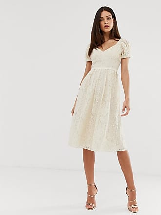 74b7e47bfd9 Little Mistress all over lace sweetheart neck midi skater dress in cream
