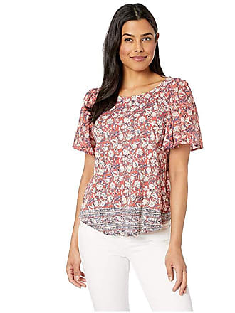 Lucky Brand Printed Woven Mix Top (Red Multi) Womens T Shirt
