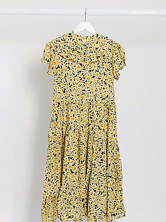 Topshop Petite daisy print midi dress in yellow