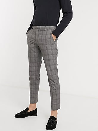 Burton Menswear skinny smart trousers in grey & blue check