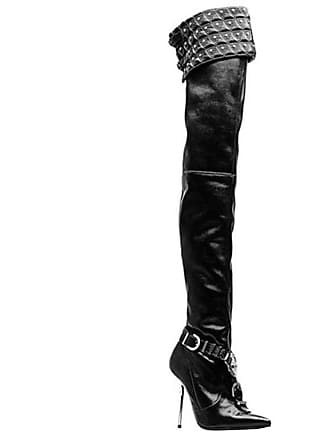 ee011e01d32 Versace chelsea Studded Black Leather Thigh High Boots