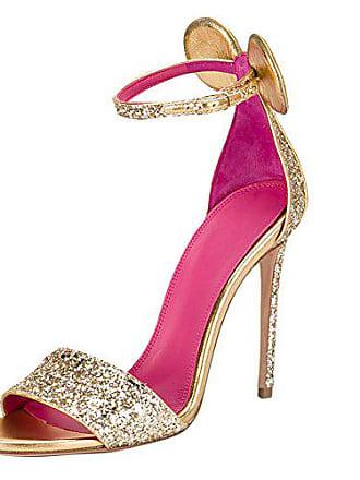 3df7229d89e6a1 Onlymaker Damen Open Toe Sandalen High-Heels Stiletto Schuhe Closed Back  mit Ohr Gold EU37