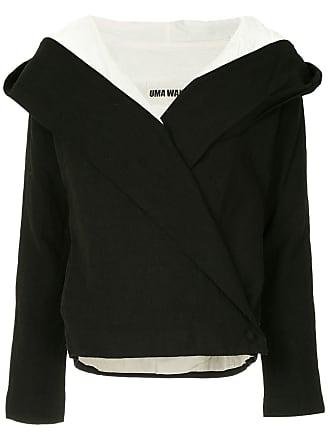 Uma Wang contrast lining hooded jacket - Black