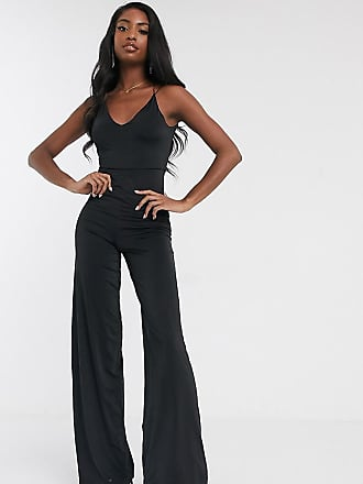 Asos Tall ASOS DESIGN Tall slinky jumpsuit with elastic straps-Black