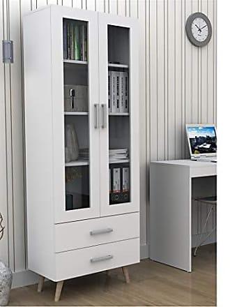 Appunto Armário para Escritório com Portas de Vidro e 2 Gavetas Bliv - Branco