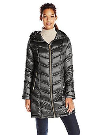 3084c2fbd70 Calvin Klein Womens Mid-Length Packable Chevron Down Coat, Black, X-Small