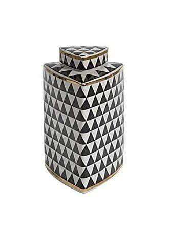 Sagebrook Home Ceramic Triangular Covered JAR, Black/White/Gold, 6.25x6.25x14