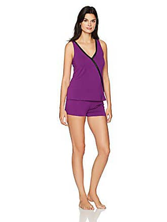 Maidenform Womens Dried Botanicals Satin Trim Crossover Tank Short Set, Charisma, Small