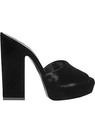 2a8808597 Saint Laurent Saint Laurent Woman Debbie Velvet Platform Mules Black Size  35.5