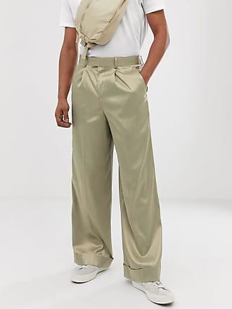 Asos wide leg smart pants in olive high shine satin - Green