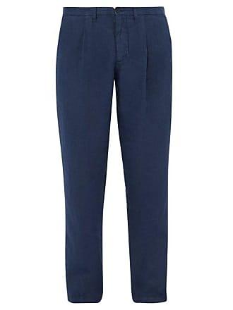 120% Lino Mid Rise Linen Trousers - Mens - Dark Navy