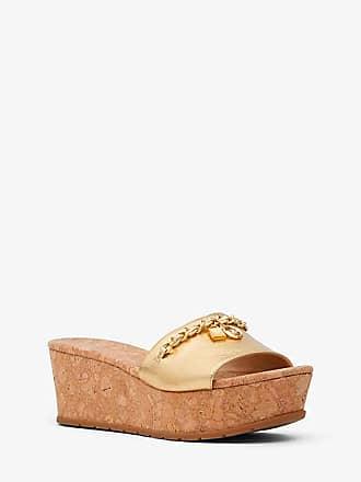 592b2a7023 Michael Kors Elsa Metallic Leather And Cork Platform Sandal