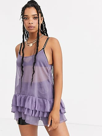 ZYA The Label mesh mini dress with ruffles and gold straps-Purple
