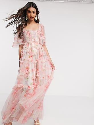 Needle & Thread smocked maxi dress in spring rose print-Multi