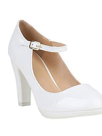 9d71baca8a0c8a Stiefelparadies Damen Pumps Mary Janes Blockabsatz High Heels T-Strap  155275 Weiss Lack Agueda 37