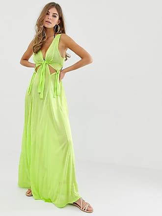1492ea93a45c Asos Vestito lungo da spiaggia aderente verde fluo con nodo in vita - Verde