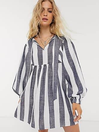 Object oversized smock dress with tie detail in stripe-Multi