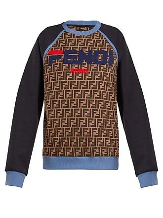 4911297eed Fendi Mania Logo Print Cotton Sweatshirt - Womens - Blue Multi