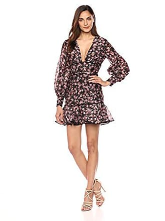 32b931b61702a Keepsake the Label Womens ONE Love Puff Sleeve FIT & Flare Floral  Longsleeve Dress, Black