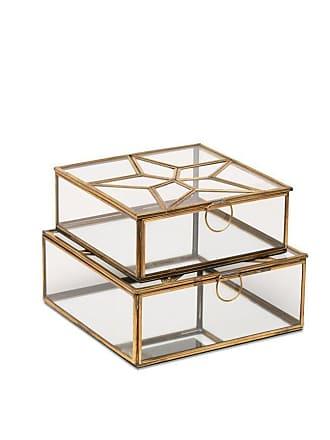 Nkuku Kleine antike Messingglas Bequai Star Box - Gold/Glass