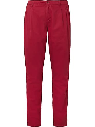 Aspesi Slim-fit Tapered Garment-dyed Cotton-twill Chinos - Red
