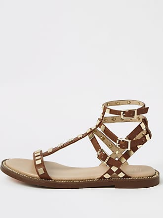 6b7fa56856d1 River Island Womens Brown studded wide fit gladiator sandals
