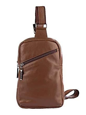 Vira Vento Mini mochila transversal de couro masculina Eric cedro