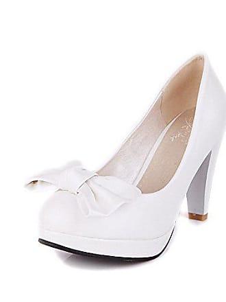 b727f2467bbf7d AgooLar Damen Weiches Material Rund Zehe Hoher Absatz Ziehen auf Rein Pumps  Schuhe