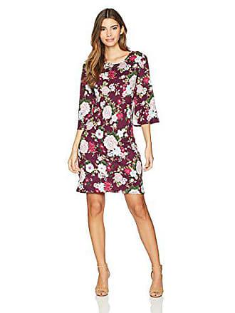 Star Vixen Womens Petite Bell Sleeve Keyhole Back Dress, Burgundy Ground Floral, PXL