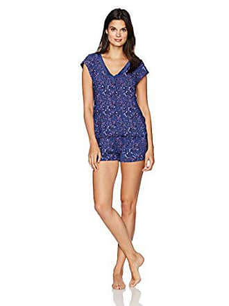 Maidenform Womens Dried Botanicals Satin Trim V-Neck Shirt Short Set, Sun Floral, Large