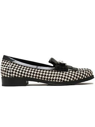 a6b88e1627 Tod's Tods Woman Glossed Leather-trimmed Houndstooth Calf Hair Loafers  White Size 38.5