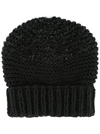 0711 fuzzy knit beanie - Black