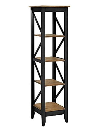 Manhattan Comfort Jay Collection Modern Accent 4 Shelf Open Tier Pattern Wooden Bookcase, Black/Wood