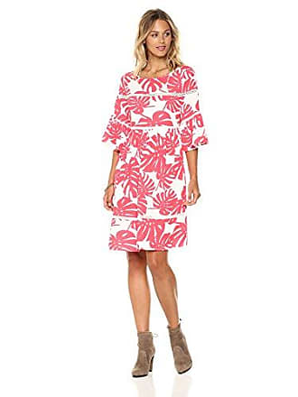 Ella Moon Womens Raquel Flutter Sleeve Swing Dress with Ladder Detail, Coral Palm Print, Extra Small