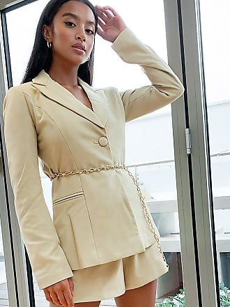 4th + Reckless Petite blazer with gold belt detail in pistachio-Green