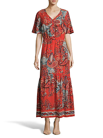 5twelve Paisley-Print V-Neck Short-Sleeve Maxi Dress