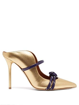 Malone Souliers Farrah Leather Mules - Womens - Gold Navy