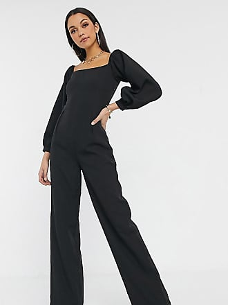 Missguided Tall square neck tie back jumpsuit in black