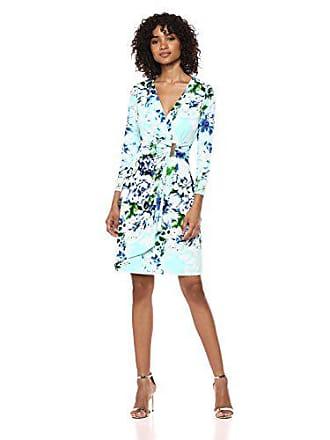 4eb76940 Calvin Klein Womens 3/4 Sleeve Mock Wrap Dress, sea Glass Multi, 10