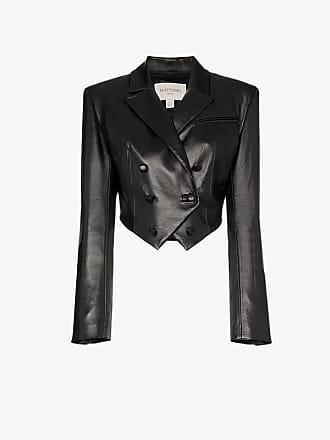 Matériel double-breasted faux leather bolero jacket
