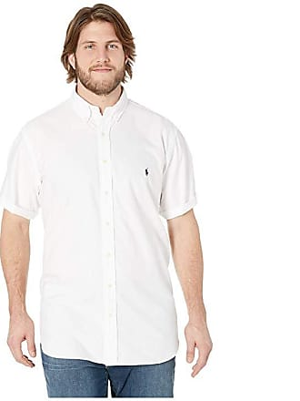 64ed52e4 Ralph Lauren Big Tall Solid Garment Dyed Oxford Short Sleeve Classic Fit  Sports Shirt (White