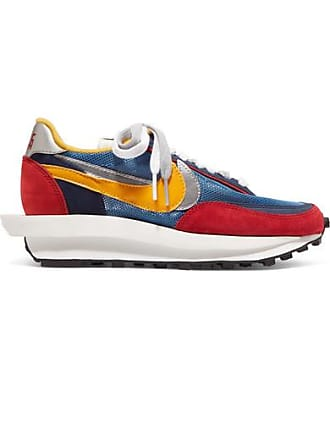 Nike + Sacai Ldv Waffle Daybreak Mesh, Suede And Leather Sneakers - Blue