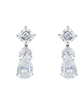 Fantasia Sterling Silver & Palladium 18kt Asscher & Pearshape Drop Earrings