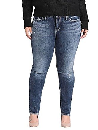 16c37da8ecf Silver Jeans Co Womens Plus Size Elyse Relaxed Fit Mid Rise Straight Leg,  Heritage Sandblast