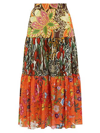 c527bd9bbb Gucci New India Printed Tiered Cotton Poplin Midi Skirt - Womens - Brown  Multi