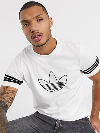 adidas Originals – Weißes T Shirt mit Dreiblatt und Military