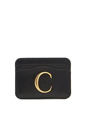 Chloé C Logo Plaque Leather Cardholder - Womens - Black
