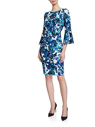Iconic American Designer Floral Bell-Sleeve Crepe Sheath Dress