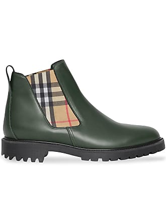 e6815564b Burberry Vintage Check Detail Leather Chelsea Boots - Green